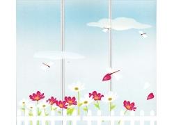 栅栏旁的花朵移门图案
