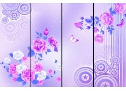移门花朵蝴蝶背景