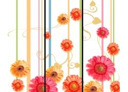 线条花朵移门图案