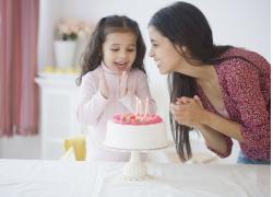 过生日的小女孩与妈妈