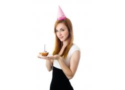 庆祝生日的美女