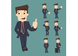 竖大拇指的卡通商务男士