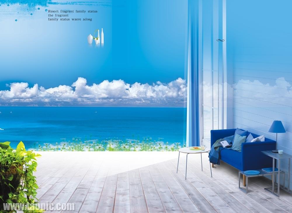 蓝色风格家居地产素材图片