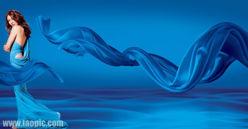蓝飘带美女psd素材图片