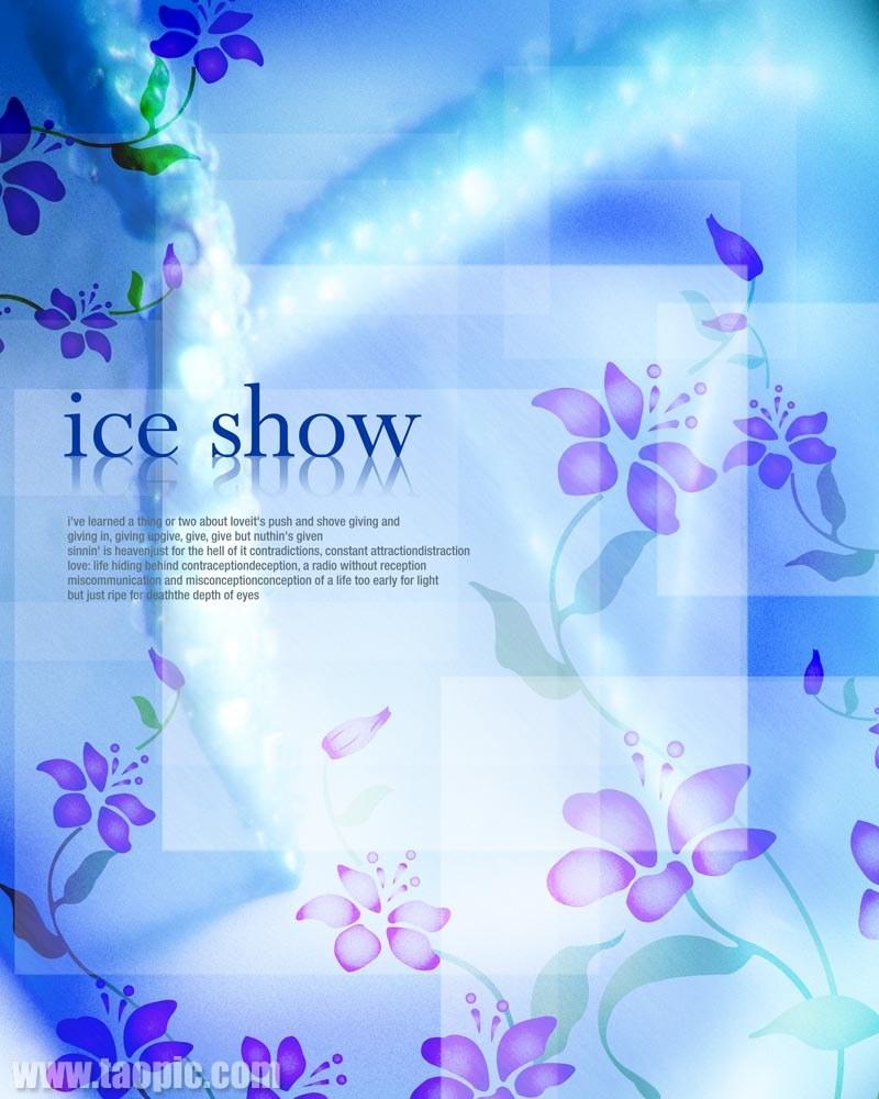 蓝色花朵背景psd素材图片