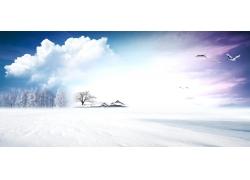 蓝天白云雪景psd素材