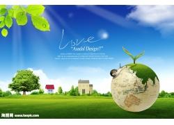 地球草地绿叶风景psd素材