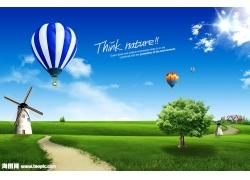 草地大树热气球psd素材