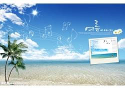 海滩椰树音符psd素材