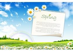 春天风景与纸张psd素材