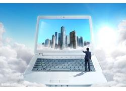 云海笔记本电脑psd素材