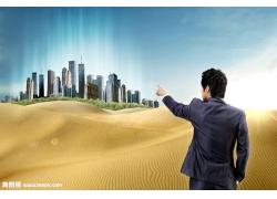 沙漠中的城市psd素材