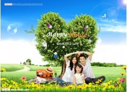 心型树风景与家人psd素材