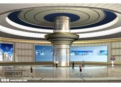 宽敞大厅建筑效果图psd素材