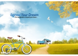 绿草地自行车风景psd素材