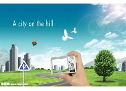 拍照城市风景psd素材