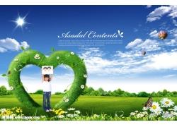 小女孩与自然风景psd素材