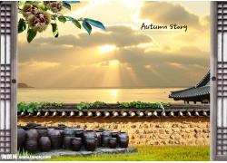 朝阳湖泊风景psd素材