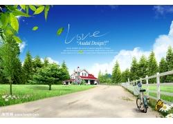 道路与两旁的绿色风景psd素材