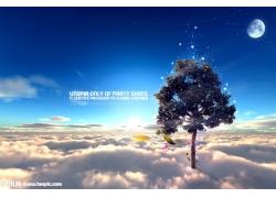 云海与树风景psd素材