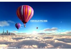 云海热气球风景psd素材