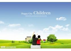 草地上看蓝天的小孩psd素材