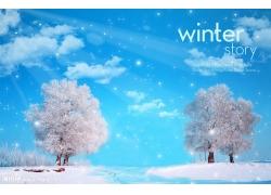 美丽冬天风景psd素材