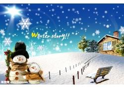 美丽冬天雪景psd素材