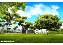 蓝天大树草地风景psd素材