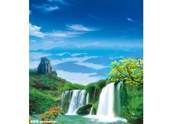 山水瀑布风景psd素材