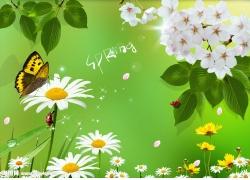 春天绿叶风景psd素材