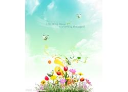 花朵与飞舞的蝴蝶psd素材