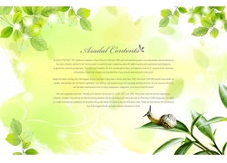 蜗牛与绿色背景PSD素材