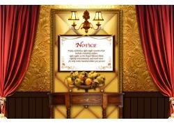 金色花纹背景墙与红幕布psd素材