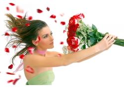 玫瑰花束与美女图片
