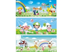 幼儿园墙体广告矢量模板