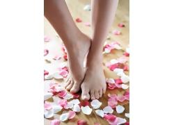 玫瑰花瓣和美脚足疗