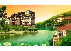 豪华别墅自然景色房地产广告模板