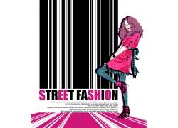 条码与卡通时尚女孩PSD分层素材