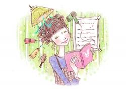 看书的卡通时尚女孩PSD分层素材