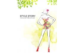 性感时尚女孩插画PSD分层素材