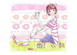 化妆的时尚美女卡通插画PSD分层素材