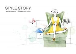坐在沙发的时尚女孩PSD分层素材