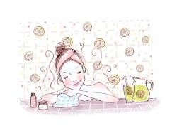正在沐浴的卡通女孩PSD分层素材