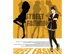 卡通女孩儿与人物剪影背景PSD分层素材