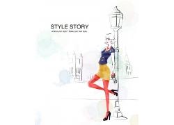 站在街头的时尚女孩PSD分层素材