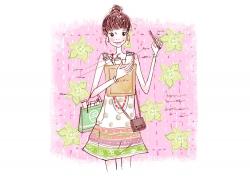 卡通时尚购物女孩PSD分层素材