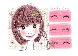 上假睫毛的时尚女孩PSD分层素材