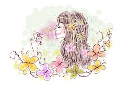 喷香水的卡通女孩PSD分层素材