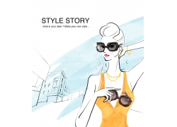 戴墨镜的卡通性感美女PSD分层素材